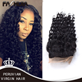 "4""*4""Peruvian Virgin Hair Curly Wave Lace Closure Human Hair Lace Closure Bleached Knots Free Part Peruvian Virgin Hair Closure"