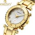 Кристалл Изысканный Женщины Часы Розовое Золото montre femme Повседневная Кварцевые часы Кварцевые Часы Япония Движение Наручные Часы reloj mujerfor