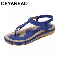 CEYANEAO Summer Shoes Women Bohemia Ethnic Flip Flops Soft Flat Sandals Woman Casual Comfortable Plus Size