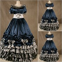 2018 Summer Gothnic Lolita Gown Vampire Gothic Victorian Dress steampunk dress Medieval Halloween Costume women prom Dress
