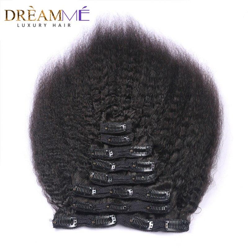 kinky straight hair clip in human hair extensio  (4)