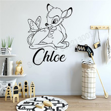 Fawn Personalized Name Custom Kidsroom Girls Boys Wall Sticker Vinyl Art Removeable Poster Beauty Ornament Decals LY960 цена и фото