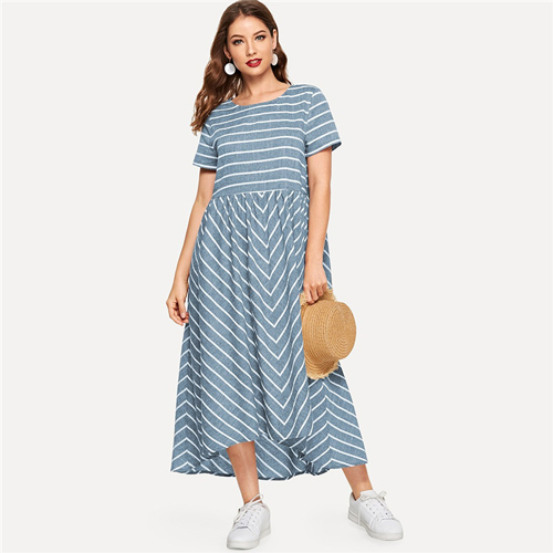 Striped Chevron Print Smock...