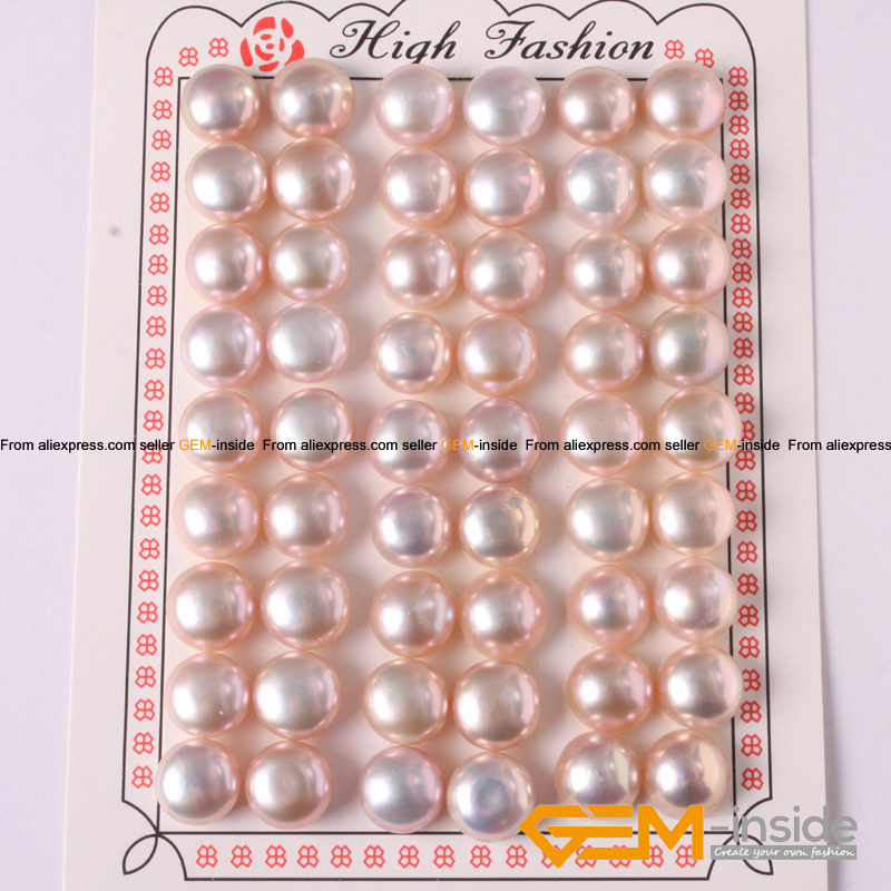 7-8mm Button Shape Genuine Pink Pearl Beads Half Drilling Genuine Pearl Beads For Earring Making Beads The Latest Fashion Beads & Jewelry Making