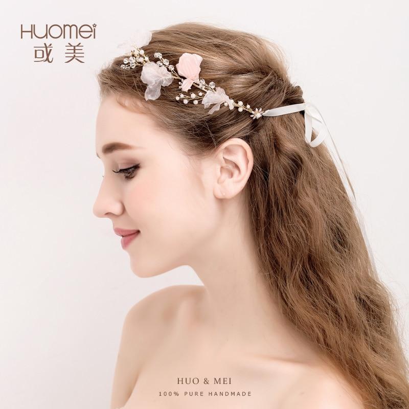 Handmade Hochzeit Braut Stirnbänder Frisuren Gold Farbe Blume