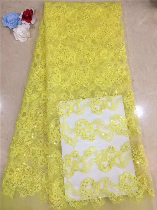 2019 African high quality velvet sequence French Nigerian sequins net tulle mesh Swiss lace fabric for dress 5yards/lot yellow(22019 African high quality velvet sequence French Nigerian sequins net tulle mesh Swiss lace fabric for dress 5yards/lot yellow(2