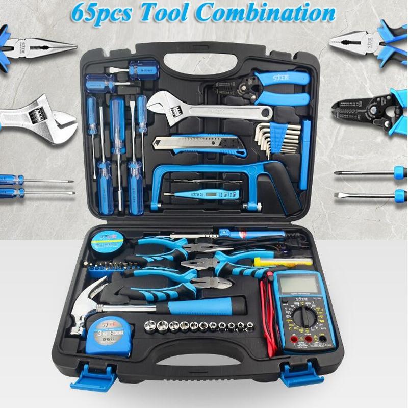 Hand Tool Set Box 65pcs Household Manual Hardware Tools Electrician Repair Kit With Electric Soldering Iron Multimeter Socket