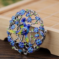 Thai Silver Magpie Blossom Brooch Pendant Handmade Enamel Silver Brooches Flower Bird Chinese Style Pins Luxury Jewelry SBH0001