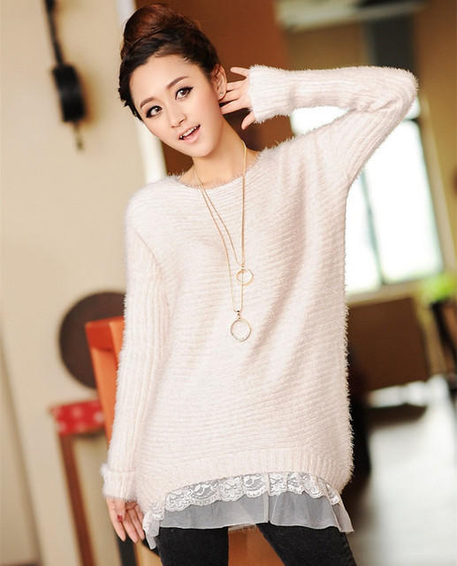 Korean Female Lace Hem Mohair Sweater Coat and Long Sections Loose Low  O-neck Sweaters pull over W4366 102422d4e