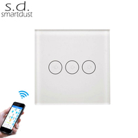 Smartdust EU Wifi Remote Control Wall Touch Switch 3Gang 1Way SmartLife APP or Tuya Smart APP Control AC100~240v