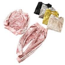 Children's Velvet Sports Set Girls Stripe Long sleeve Warmer Spring & Autumn Clothes Set Outdoor Clothing for 3-9Y Girl Kid