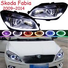 Samochodów głowy światła dla Fabia reflektory 2009 2010 2011 2012 2013 2014 rok Fabia reflektorów DRL HI LO ukrył ksenonowe