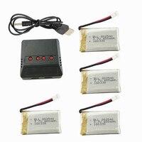 SYMA X5C 4 pz/lotto 3.7 v 600 mah Lipo Batteria Con 4 In 1 Caricatore Per Syma X5-15 X5C X5SC x5SW H5C RC Quadcopter Parti di Batteria