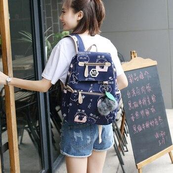 2019 USB Charging Canvas Backpack 3 Pcs/set Women School Backpacks Schoolbag For Teenagers Man Student Book Bag Boys Satchel 4