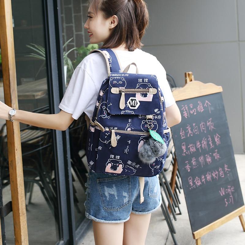 Image 5 - 2020 USB Charging Canvas Backpack 3 Pcs/set Women School Backpacks Schoolbag For Teenagers Man Student Book Bag Boys SatchelBackpacks   -