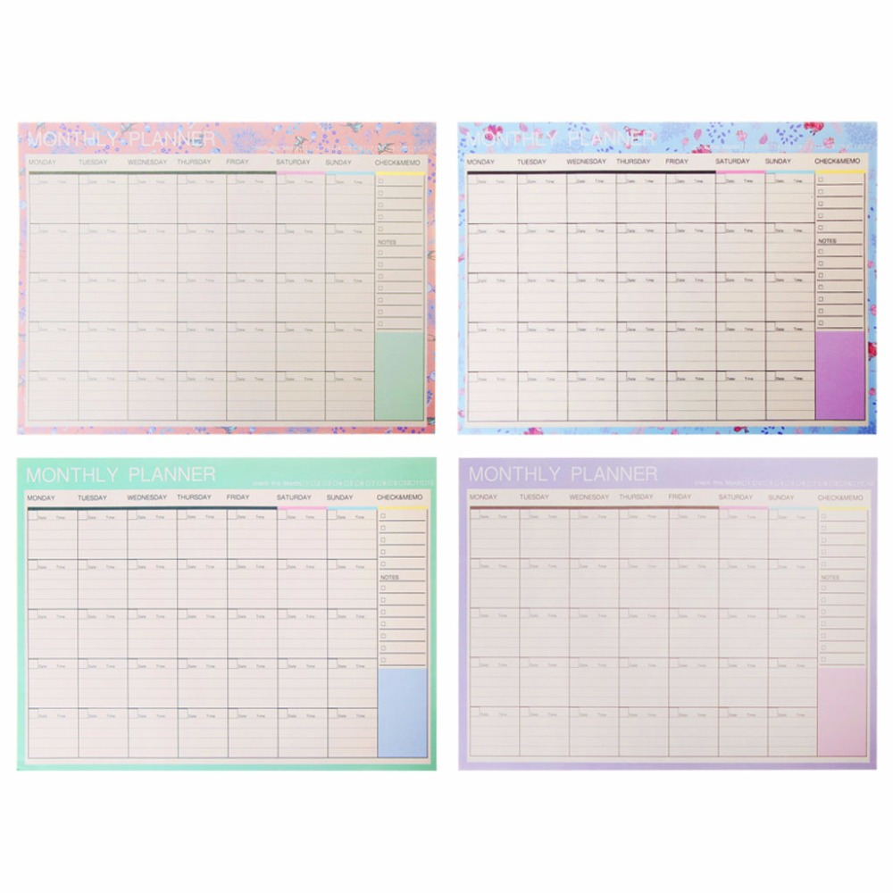 Memo Pads Monthly Paper Pad 20 Sheets Diy Planner Desk Agenda Gift School Office Supplies