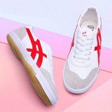 USHINE/EU35-44; красные, синие парусиновые классические туфли в стиле ретро для настольного тенниса; обувь для фитнеса; KungFu TaiChi; кроссовки для бега; обувь для взрослых