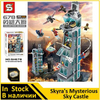 SH678 Avenger Attack on Avengers Tower 7th floor Building Blocks Marvel Super Heroes Figures Compatible 76038