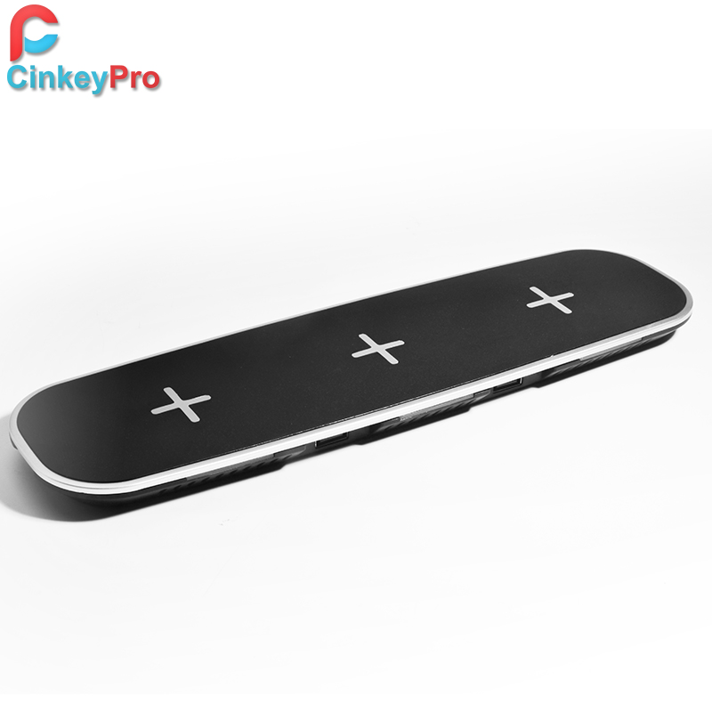 CinkeyPro QI Wireless Charger Station Charging 3*Mobile Phone & 2 Ports USB Table Dock for iPhone 8 10 X Samsung S6 S7 S8