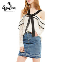 AZULINA Sweet Ruffle Lace Blouse Shirt Women Sexy Cold Shoulder Blouse Blusas Open Back Button Up