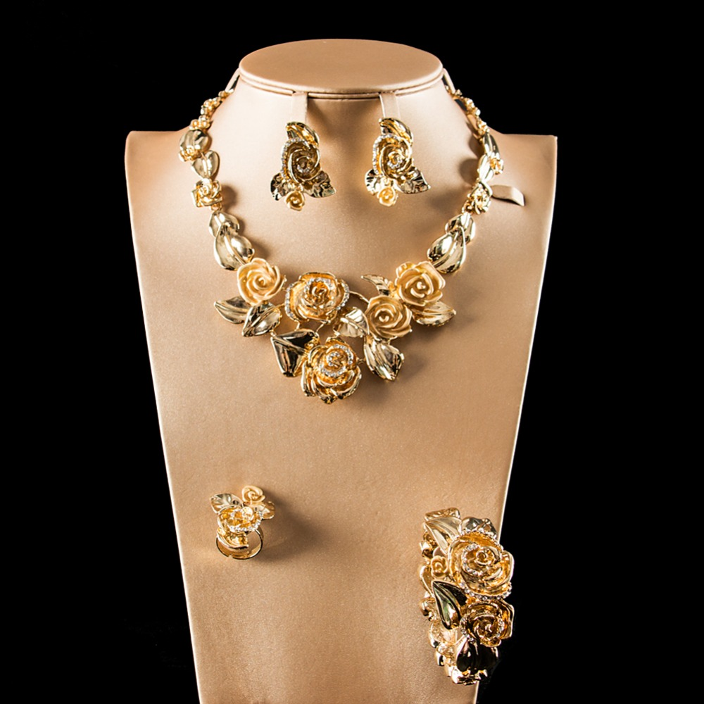 LAN PALACE costume jewelry gold color ladies rose flower jewellery set earrings necklace ring bracelet free shipping