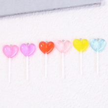 12pcs  71*25mm Cute Multicolor Lollipops charms Resin pendant  necklace charms  for woman jewelry diy  Flatback cabochons