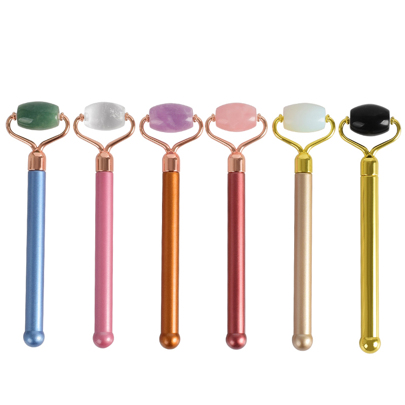 New Style Natural Gemstone Jad Crystal Facial Roller Anti Wrinkle Portable Nature Beauty