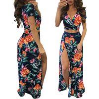 Women Bandage Summer Dresses Floral Printed High Slit Dress Long Maxi Dress Sundress Vestidos