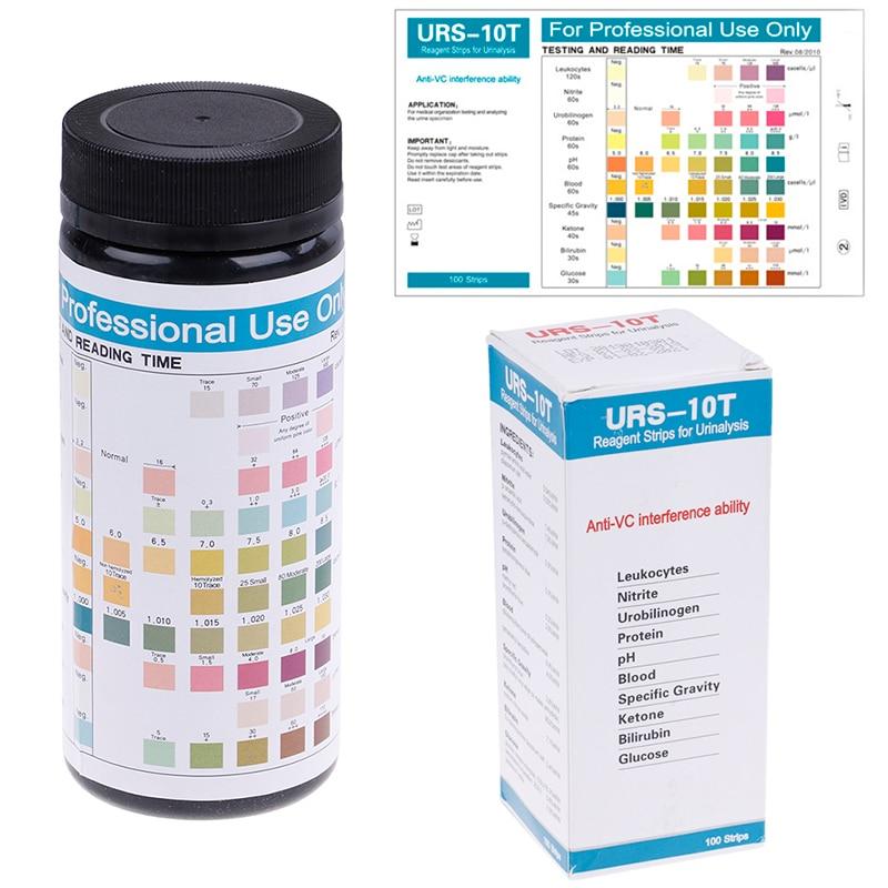 URS-10T 100strips Urinalysis Reagent Test Paper 10 Parameters Urine Test  Strips Leukocytes, Nitrite, Urobilinogen, Protein, pH