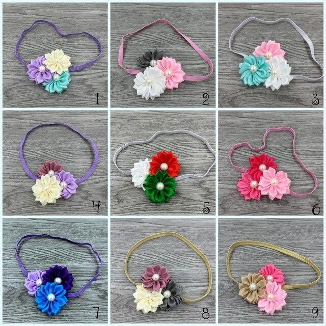 40pcs/lot   Satin Ribbon Flower Macthing Pearls For Baby Headband Flowergirl Hair Accessory