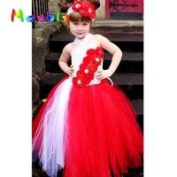 Czerwony Mix Biały Rhinestone Kwiaty Dla Dzieci Dziewczyny Tutu Sukienka Urodziny Dziewczyny Długie Suknie Ślubne Księżniczka Ubrania dla Dziewczynek