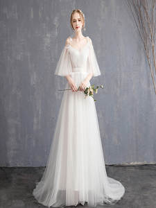 Wedding-Dress Neck-Care-Products Appliques Lace Cheap Boat Short-Sleeve Fashionable