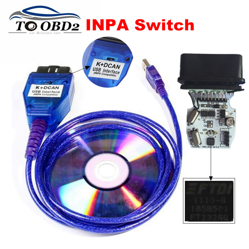 INPA Compatible USB OBD2 Interface Switched Function Supports K-Line Protocols For BMW INPA K+DCAN FTDI FT232RQ White/Blue Color