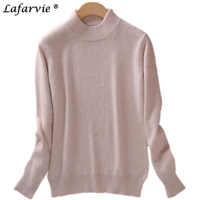 Lafarvie módní kašmír Blended Pletené svetr Ženy Topy Podzimní zimní rolák Pullover Full Sleeve Dámské Jumpers Pull