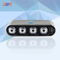 4 Way Car Cigarette Lighter Socket Splitter DC 12V USB LED Light Control S7N