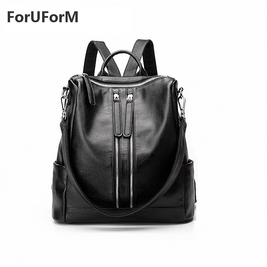 ФОТО ForUForM Genuine Leather Backpack Women Designer bags High Quality Shoulder Bags New School Bags For Teenagers Girls-GL002