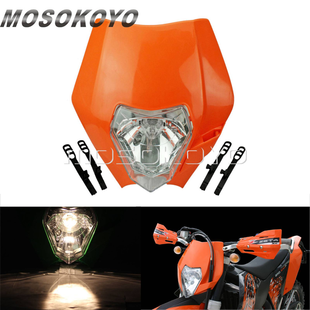 Orange Dirt Bikes Streetfighter Enduro MX Headlight Front Lamp For KTM 450 SX-F 250 SX 200 EXC XC-W XC-F 65 85 125 150 350