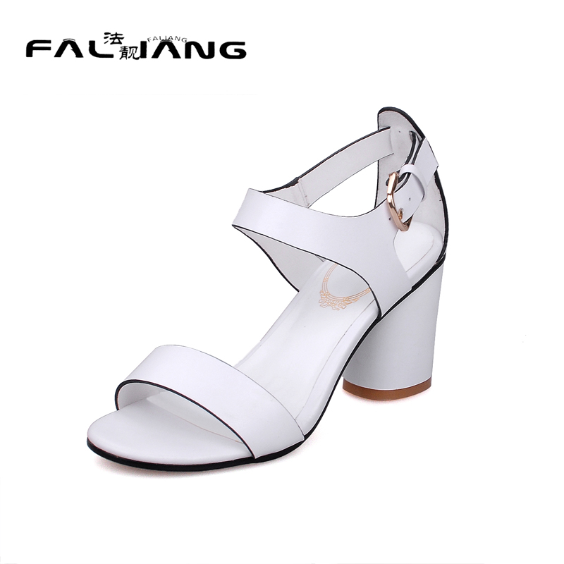 ФОТО Genuine Leather Big Size 11 12 Rome Casual Buckle Strap Square heel women shoes woman ladies  womens