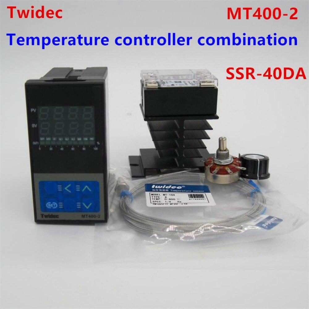 Высокое качество двойной цифровой pid Температура контроллер Термостат 100 240 В AC с термопары K, ССР 40A, ssr 40a
