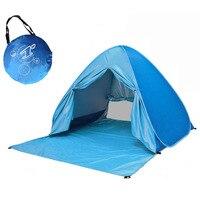 자동으로 팝업 커튼으로 캠핑 비치 텐트를 신속하게 야외 UV50 + 보호 휴대용 해변 텐트를 엽니 다