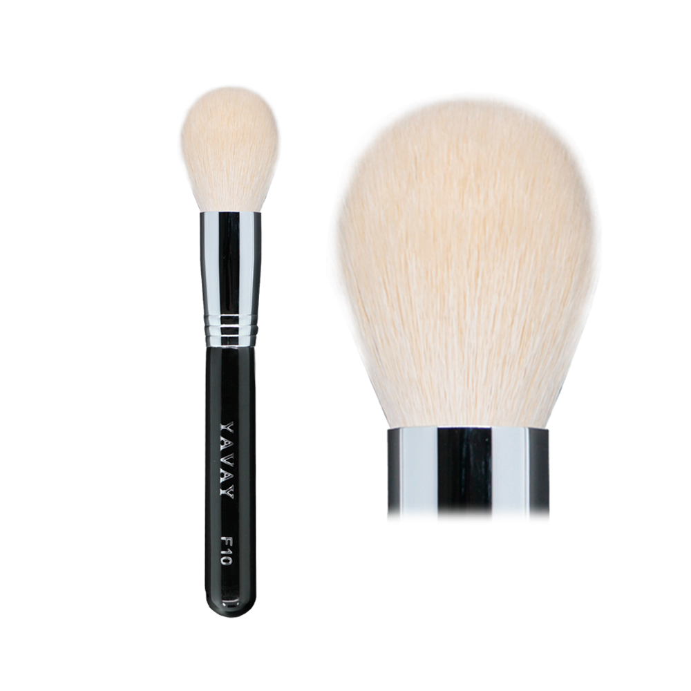 YAVAY F10 Original Top Quality Goat Hair Loose Powder Copper Connection Black Wood Handle Blusher makeup brush with logo