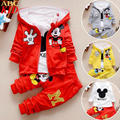 Brand Baby Boys Girls Tracksuit Children Clothing Set Mickey Long Sleeve Coat+Shirt+Pants 3PCS suits KD180
