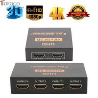 TOFOCO UHD 3D 4K 2K Full HD 1080p HDMI Splitter 1X2 1X4 Port Hub Repeater Amplifier