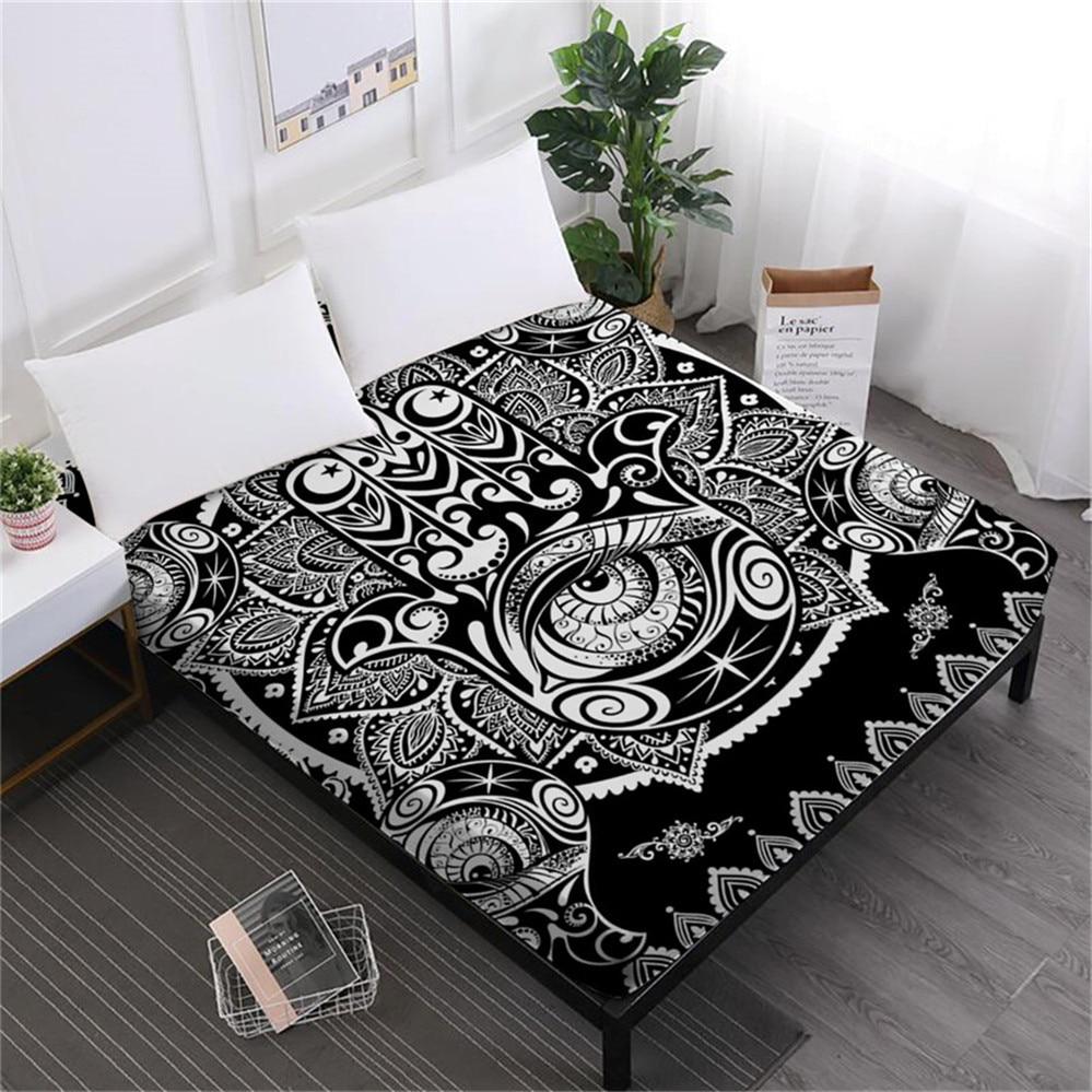 Tribal Hamsa Hand Print Bed Sheets Mandala Print Fitted Sheet White Black Exotic Mattress Cover Elastic