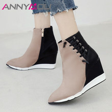 ANNYMOLI Women Boots Autumn Ankle Boots Mixed Colors Wedge High Heel Short Boots Zipper Pointed Toe Shoes Lady Winter Size 34-40 luchfive individual front zipper ankle boots for women pointed toe clear acrylic wedge heels transparent women short boots