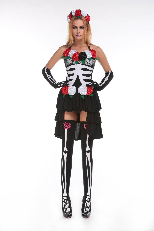 free shipping new style women skull bride costume women sexy halloween costumes 3f1593china - Free Halloween Costume