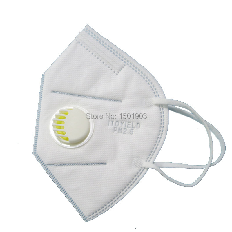 5 N95 Respirator Valve Folding Disposable With Valved Mask Dust Nonwoven Pm2 Mouth Vertical