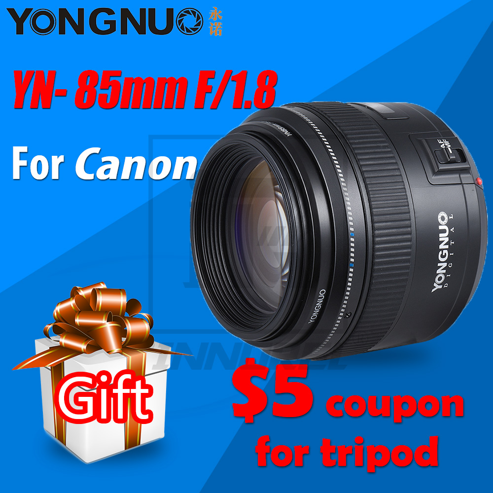 Original YONGNUO YN85mm f1.8 85mm Fixed Focus Camera Lens AF/MF Lens for Canon EF Mount EOS Cameras 70D Portrait photography 85mm f1 8 aluminum alloy manual focus lens set for canon black