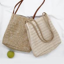 Casual Grass Woven Straw Bag Fashionable Sling Beach Storage Shoulder Crossbody Bag Handbag Tote For Women Girl Ladies Hand Bags