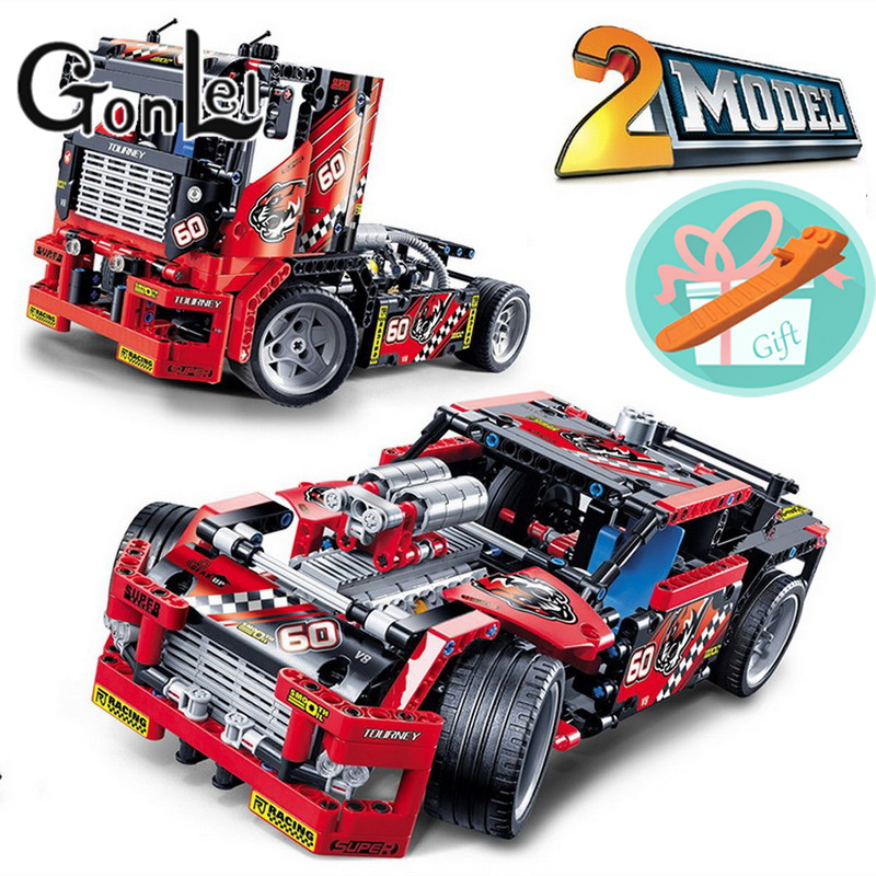 GonLeI Wholesale Price!!! Race Truck Racing Car 608pcs 2 In 1 Transformable Model Building Block Sets Smart Toys Children Gift